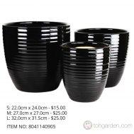 Black Ceramic Pot (ITEM NO 8041140905)