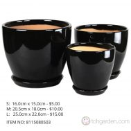 Black Ceramic Pot (ITEM NO 8115080503)