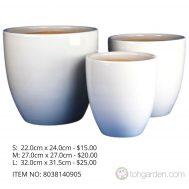White Ceramic Pot (ITEM NO 8038060402)