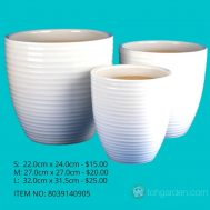White Ceramic Pot (ITEM NO 8039140905)