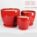 Round Red Ceramic Pot