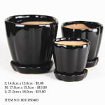 Black Ceramic Pot (8011050403)