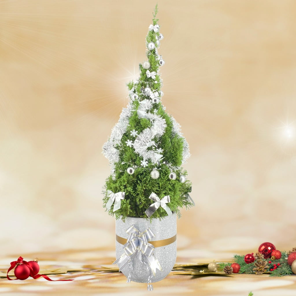 Christmas Tree (1.40m) in Modern White Cement Pot with Decor