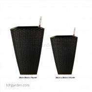 Self-Watering Pot (Black Rattan)