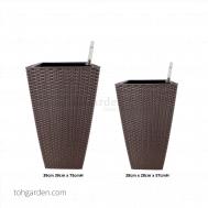 Self-Watering Pot (Brown Rattan)