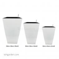Self-Watering Pot (Glossy White)