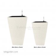 Self-Watering Pot (White Rattan)