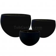 Black Fiberglass Pot (Smooth)