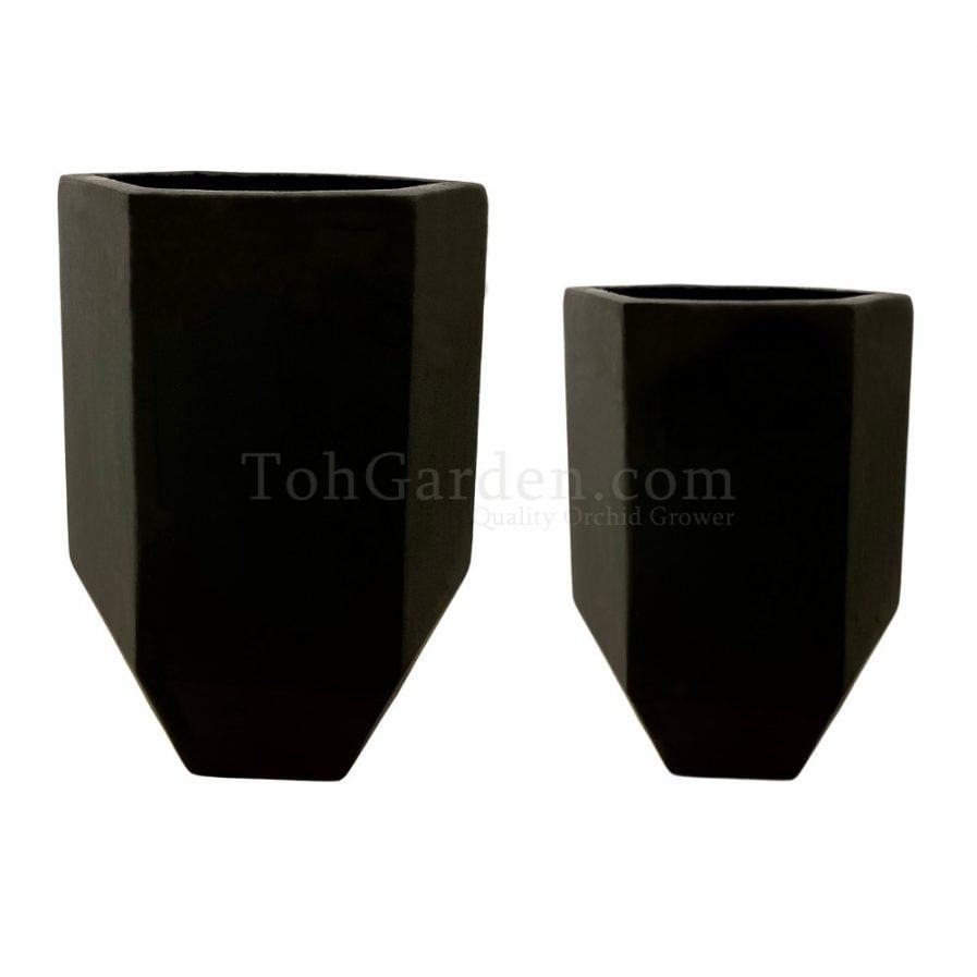 Black Hexagonex Fiberglass Pot