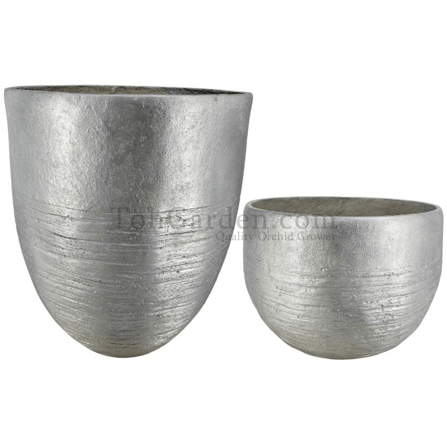 Silver Aztecio Fiberglass Pot