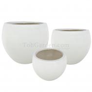 White Fiberglass Pot (Smooth)