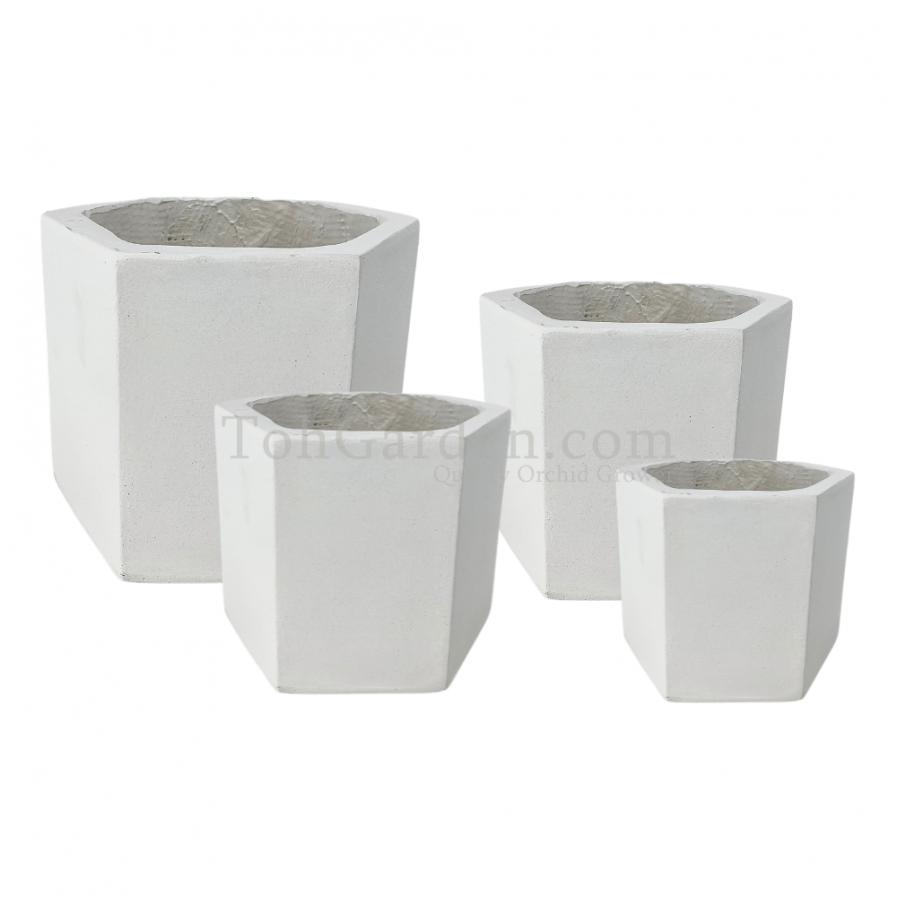 White Hexagonlia Fiberglass Pot
