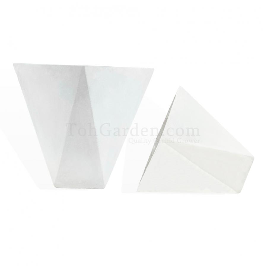 White Tetrahedrya Fiberglass Pot